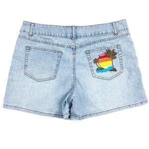 Light Wash Embroidered Back Pocket Jean Shorts